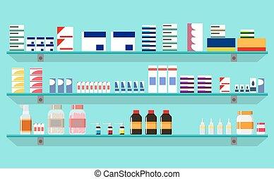 Modern interior pharmacy or drugstore. Medicine pills...