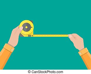 Mens hands hold measuring tape
