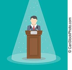 orator speaking from tribune. public speaker. vector...