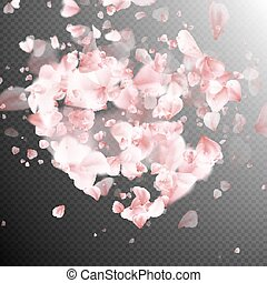 Heart with falling flower petals blossom. EPS 10
