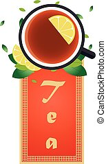 Tea time. Cup of tea with lemon. Chinese tea. Vector illustration.