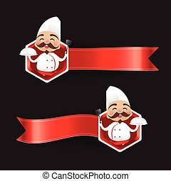 Chinese chef cartoon have smile with red blank banner vector illustration eps10 002