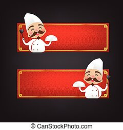 Chinese chef cartoon have smile with red blank banner vector...