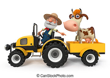 3d illustration the farmer with a cow goes on the tractor -...