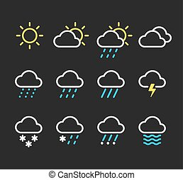 Weather icon set - Weather line icons set. Sunny, clouds,...
