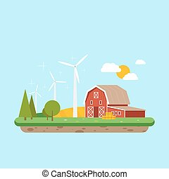 Clean energy in rural areas. Farm barn near trees and wheat field. Vector, illustration EPS10.