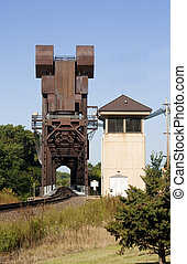 railroad lift bridge - old rusty railroad lift bridge still...