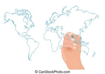 Hand Drawing World Map Illustration