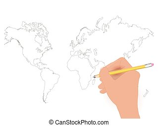 World Map Pencil Illustration