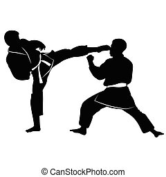 Silhouette of athletes involved in martial arts sparring-...