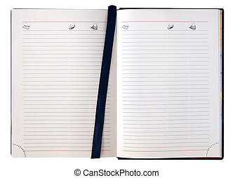 Open diary notebook with blank pages isolated on white...