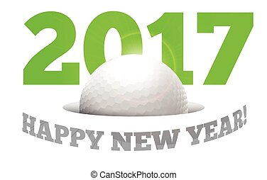 Happy New Year on the background of a golf ball
