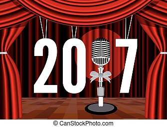 Happy New Year on the background of the stage with a microphone