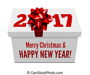 Congratulations to the New Year on the background of a gift and ribbon with bow