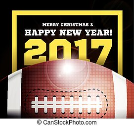 Happy New Year on the background of a ball for football