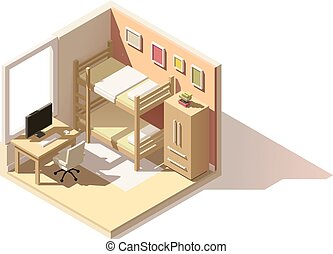 Vector isometric low poly children room icon - Vector...