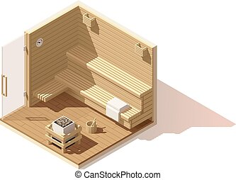 Vector isometric low poly sauna room icon - Vector isometric...