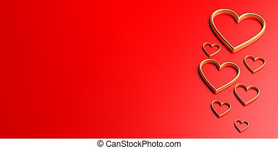 3d rendering hearts on red background