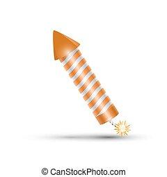 orange fireworks rocket, petard - orange fireworks rocket....