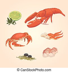 Set sea food crab and crawfish