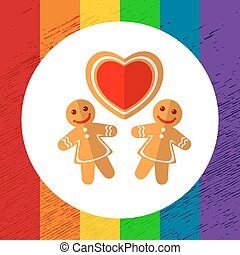 gay christmas-03 - Gingerbread cookies with heart isolated...