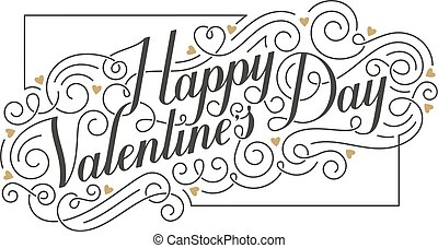 Happy Valentine's Day card. Hand drawn vector calligraphic...
