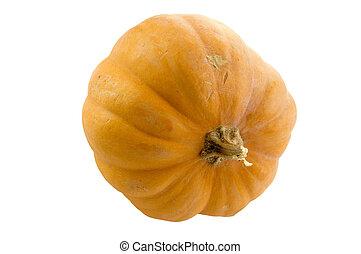 Fresh orange pumpkin isolated on white background.
