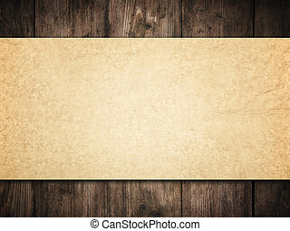 Old Paper Background on Wood Wall, Brown Papers Texture over...