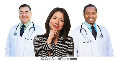 Two Mixed Race Doctors Behind Hispanic Woman on White