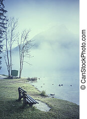 Bench on Lake Shore and Fog