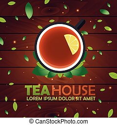 Tea house. Cup of tea with lemon. Wooden background. Vector...