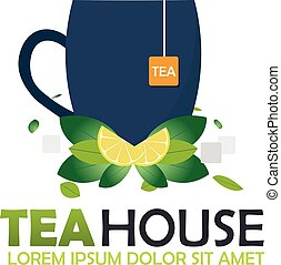 Tea house logo company. Tea logo. Vector logo illustration....