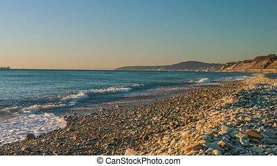 Black Sea coast sunset - Sea sunset on the Black Sea coast,...