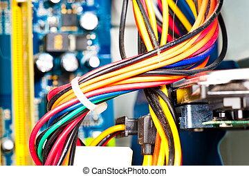 computadora, tablero sistema, cables