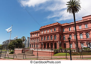 Casa Rosada in Plaza de Majo in Buenos aires with tourist in...