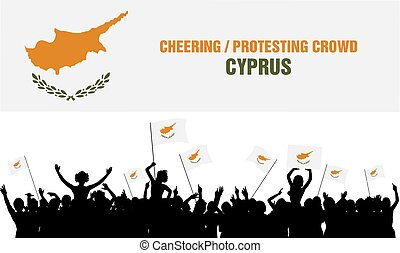 Cheering or Protesting Crowd Cyprus - Cyprus silhouettes of...