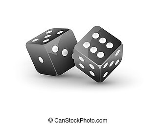 Dice vector design isolated on white. Two dice casino gambling template concept. Casino background