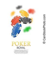 Poker gambling chips poster template. Poker game casino background on white. Leisure illustration