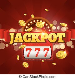 Jackpot 777 gambling poster design. Money coins winner...