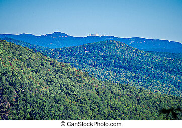 Hawksbill Mountain at Linville gorge with Table Rock...