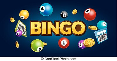 Bingo lottery poster. Balls numbers falling luck concept. Lottery game background