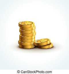 Vector coins isolated. Golden coins success economy ....