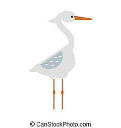 Stork standing sarus crane cartoon vector. - Stork lovely...