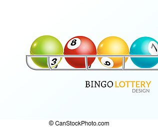 Lottery balls number. Lottery game gamble luck template poster design. Lotto background