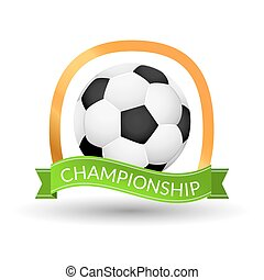Soccer championship emblem design template. Golden football...