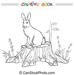 Coloring book with rabbit on the stump, flower and grass.