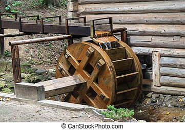 Wheel of water mill in Ukrainian village - Wheel of old...