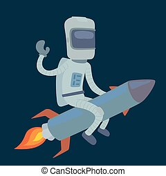 Cute astronaut in space on rocket working and having fun....