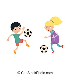 Young child boy and girl playing football vector illustration