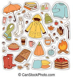 Autumn icons stickers hand drawn vector. - Autumn icons...